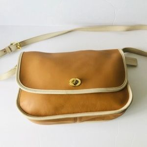 COACH Brown Leather Ivory Trim Shoulder Bag Purse